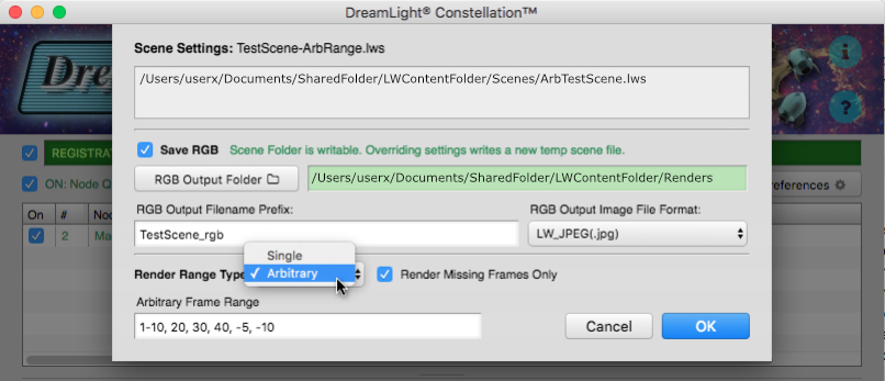 DreamLight Constellation 2.1 Render Missing Frames & Arbitrary Range