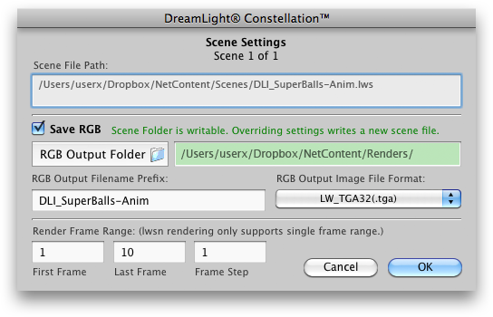 Setting Scene Settings on Mac OS X