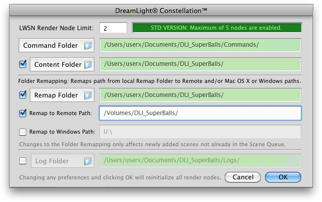 Set Command Folder, Content Folder, Remap Folder and Remap to Remote Paths on Mac OS X.