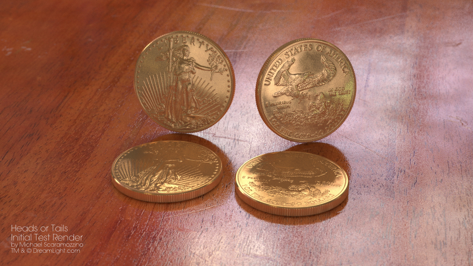 Heads or Tails Test Render of Gold Coins