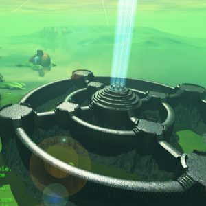 Cyber Net IO Port with Distant Alien Dwellings - 3D Interactive Edutainment Multimedia