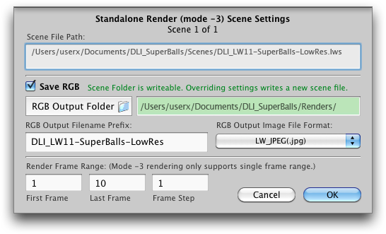 Mac OS X: DLI_SNUB-Launcher Scene Settings Panel