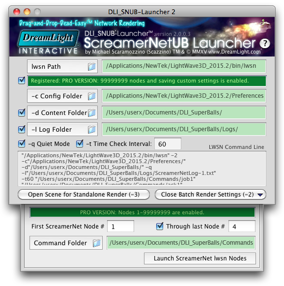 DLI SNUB Launcher for LightWave 3D Network Rendering DreamLight Interactive ScreamerNet UB Launcher for LightWave 3D Network Rendering on Mac OS X & Windows
