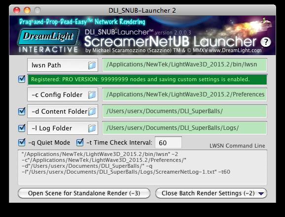 DLI SNUB Launcher LightWave ScreamerNet LWSN General Settings DreamLight Interactive ScreamerNet UB Launcher for LightWave 3D LWSN Network Rendering on Mac OS X & Windows