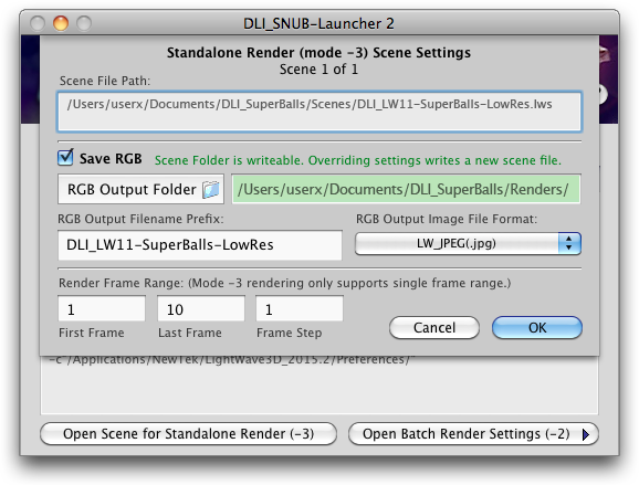 DLI_SNUB-Launcher 2 New Scene Settings Panel for Drag-and-drop-dead-easy™ Standalone Rendering LightWave ScreamerNet Standalone (Mode -3) Rendering DreamLight Interactive ScreamerNet UB Launcher LightWave 3D LWSN Network Rendering, Mac OS X & Windows.