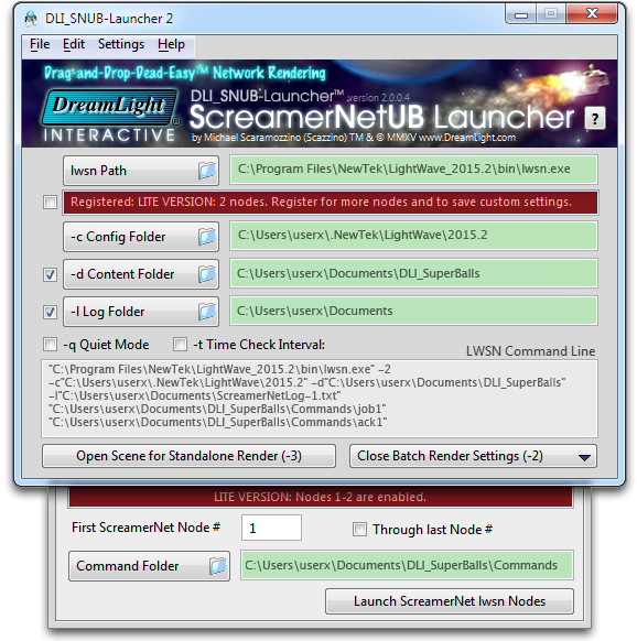 DLI_SNUB-Launcher 2 Drag-and-drop-dead-easy™ Network Rendering Now for Windows too!