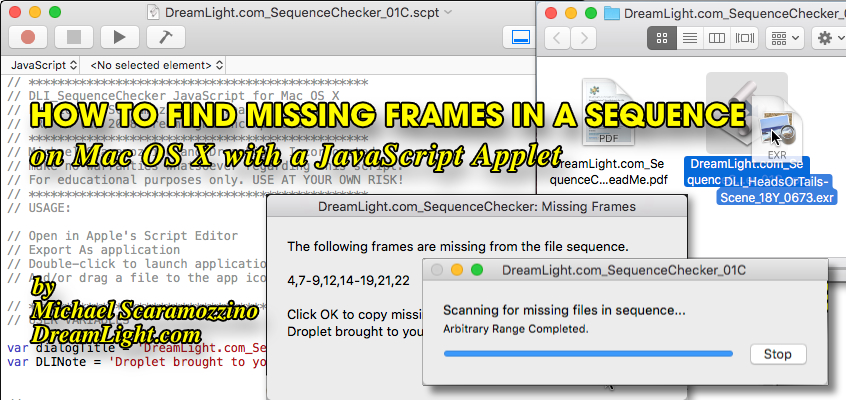 How to Find Missing Frames in an Image Sequence with a JavaScript Applet on Mac OS X