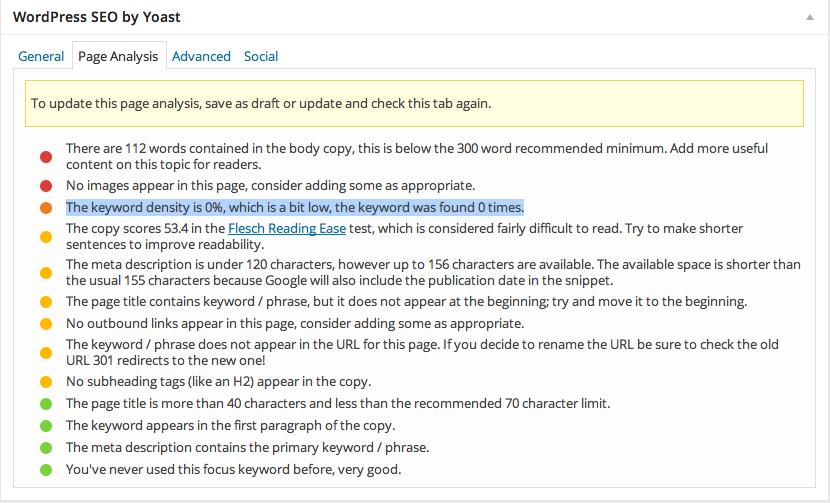 Hack Fix for Yoast WordPress SEO Plugin - Density 0