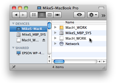 Selecting Mounted Volume in Finder