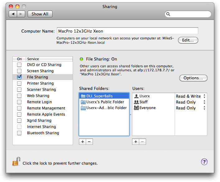 Activate Mac OS X File Sharing & share DLI_SuperBalls folder on the Host Mac