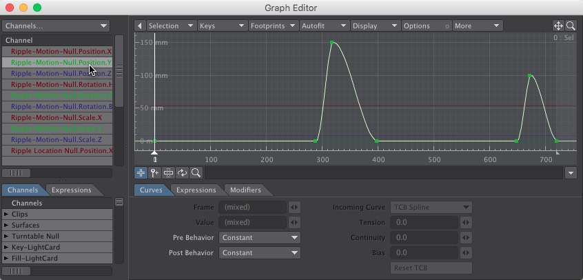 Wave Ripple Motion Null Graph Editor