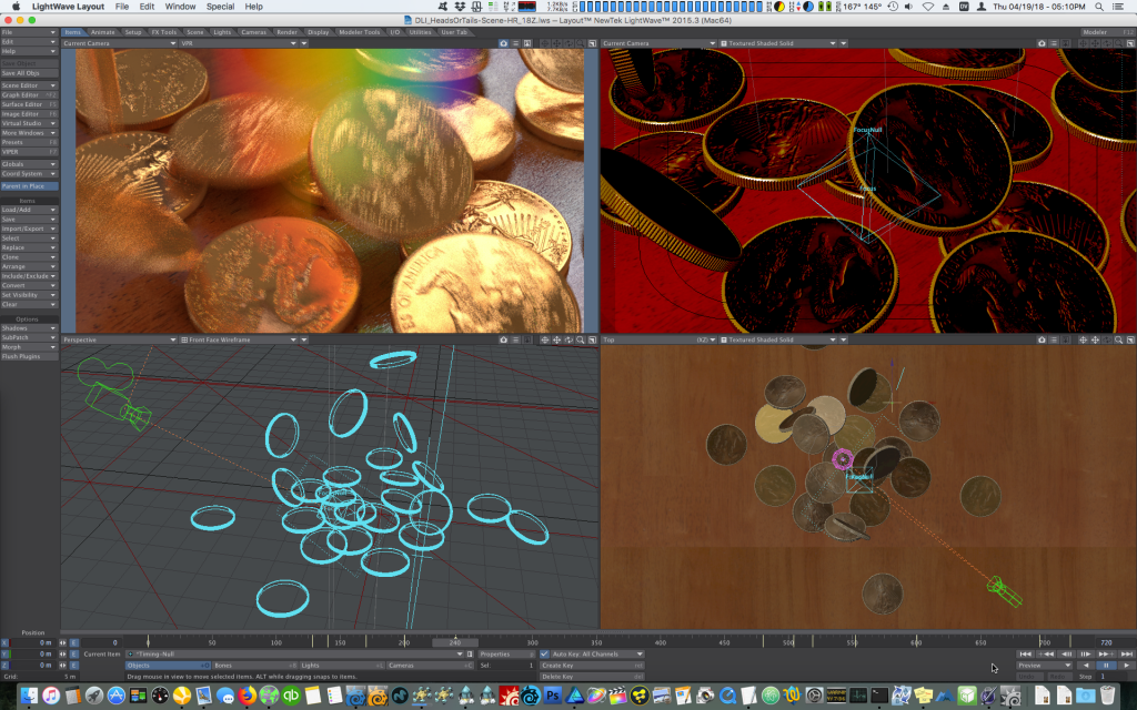 Using Bullet Dynamics in LightWave 3D to animate falling coins.