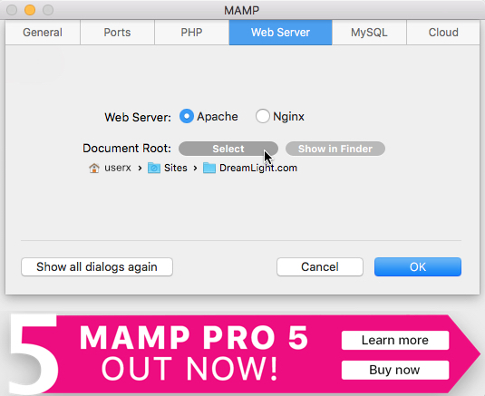 MAMP Preferences Document Root - How to Copy a Live WordPress Website to a Local Mac