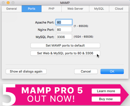 MAMP Ports - How to Copy a Live WordPress Website to a Local Mac