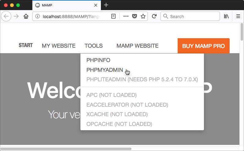 MAMP Open phpMyAdmin