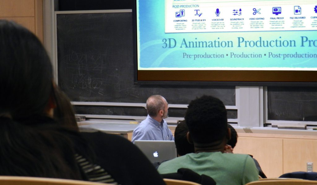 Michael Scaramozzino giving an Agile 3D Animation Process lecture to the MIT Animation Group