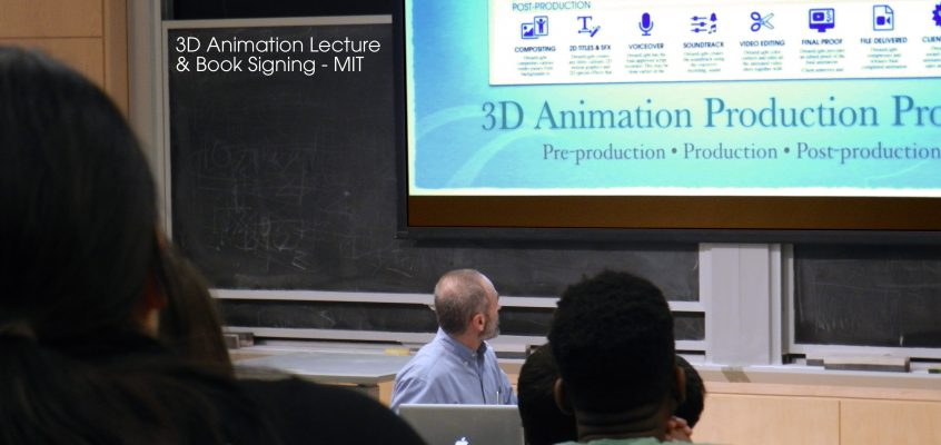 Michael Scaramozzino giving a 3D CGI Animation Production Process lecture to the MIT