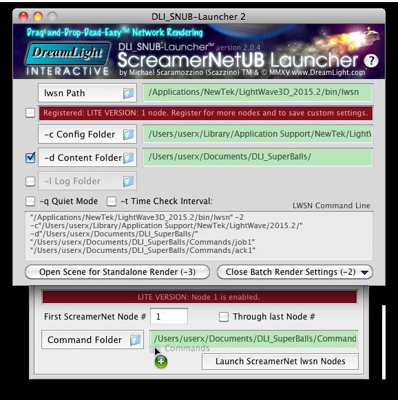 Setting the Batch Render Settings - Mac OS X