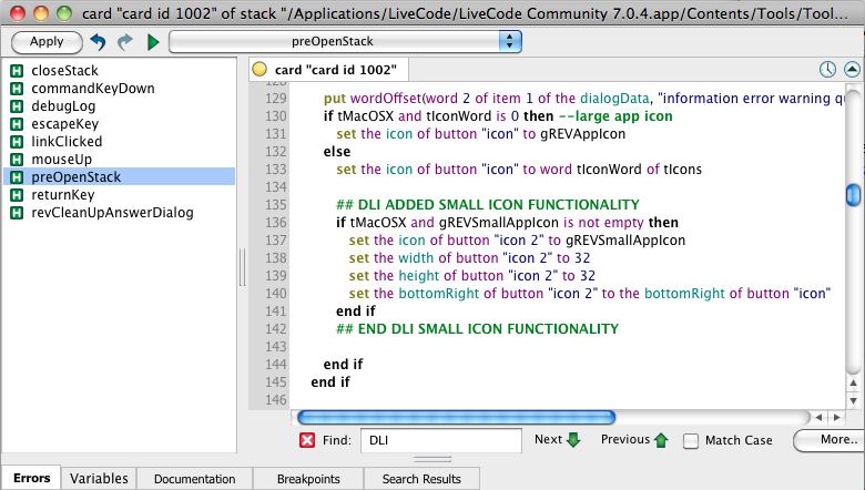 Adding Mac OS X Small Icons to Answer Dialogs LiveCode Hack Script
