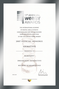 Webby Awards Official Honoree Certificate - BlastOff! - Scaramozzino